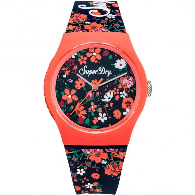 Superdry SYL177UO Urban Ditsy Floral Pink & Navy Silicone Watch