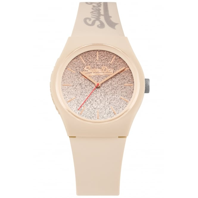 Superdry SYL179C Urban Glitter Nude Silicone Watch