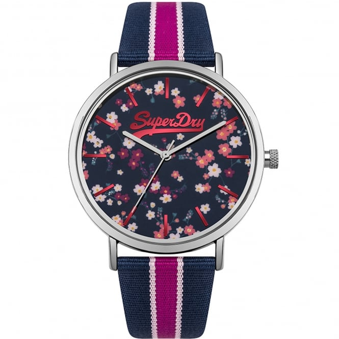Superdry SYL183UP Oxford Ditsy Silver & Blue Fabric Ladies Watch