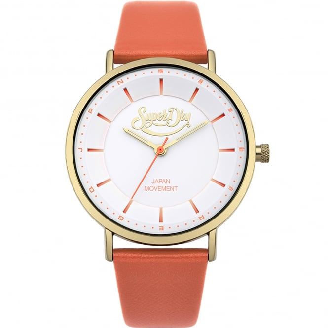 Superdry SYL190OG Oxford Pastel Gold & Coral Leather Ladies Watch