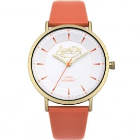 SYL190OG Oxford Pastel Gold & Coral Leather Ladies Watch