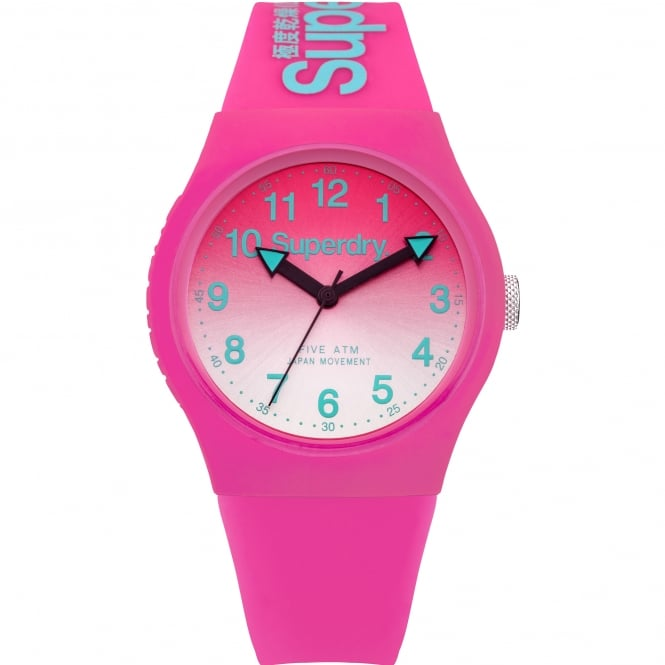 Superdry SYL198PN Urban Green & Pink Silicone Watch