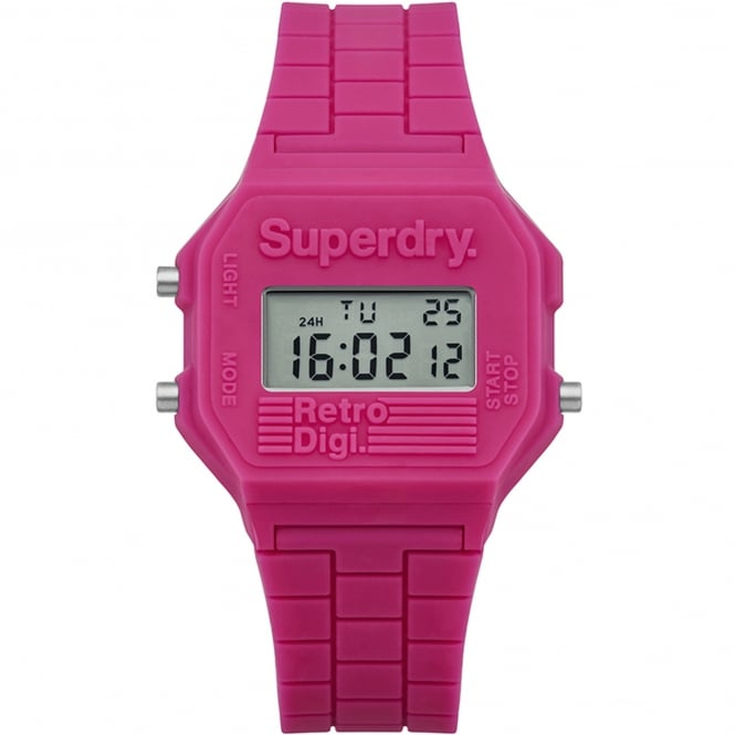 Superdry SYL201P Retro Digi Pink Rubber Ladies Watch