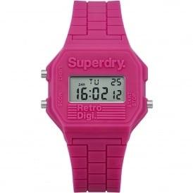 SYL201P Retro Digi Pink Rubber Ladies Watch