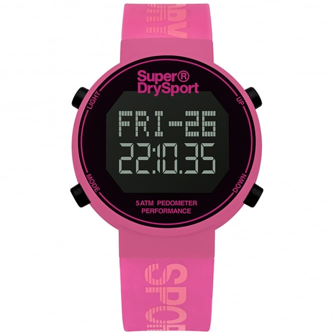 Superdry SYL203P Black & Pink Silicone Digi Pedometer
