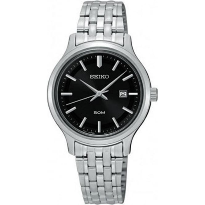Seiko SUR795P1 Black & Silver Stainless Steel Ladies Watch