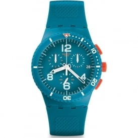 Swatch SUSN406 Patmos Blue & Orange Silicon Chronograph Watch
