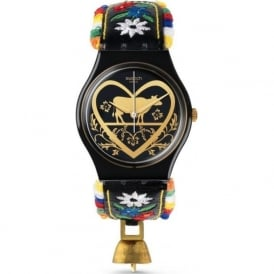 Swatch GB285 Die Glocke Multi Coloured & Black Leather Watch
