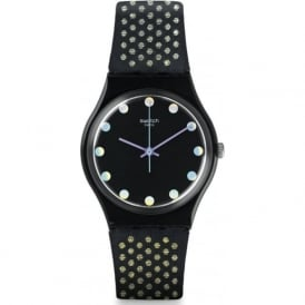 Swatch GB293 Diamond Spots Black & Gold Leather Watch