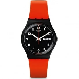 GB754 Red Grin Red & Black Silicone Watch
