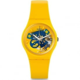 Swatch GJ136 Poussin Yellow & Blue Silicone Watch