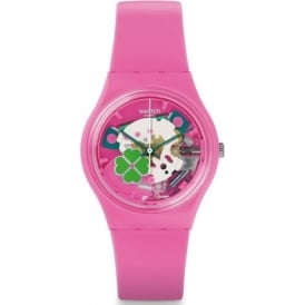 Swatch GP147 Flowerfull Pink & Green Exposed Silicone Watch