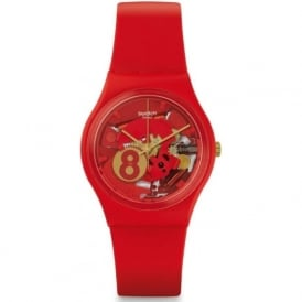 Swatch GR166 Eight For Luck Red & Gold Silicone Watch