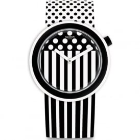 Swatch PNW101 Popdancing Black & White Patterned Watch