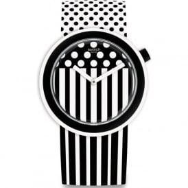 Swatch PNW101 Popdancing Black & White Patterned Watch