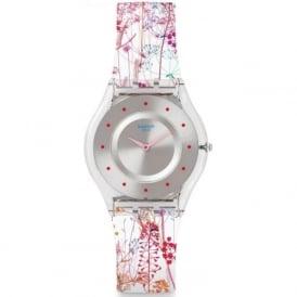 Swatch SFE102 Jardin Fleuri Pink & White Silicone Skin Watch