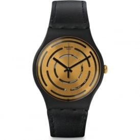Swatch SUOB126 Seeing Circles Gold & Black Leather Watch