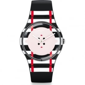 Swatch SUOB129 DOUBLE ME black & White stripped swiss watch