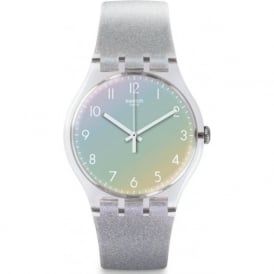 Swatch SUOK116 Spok Silver Glitter Silicone Watch