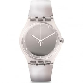 Swatch SUOK121 Shiny Moon Silver Metallic Plastic Watch