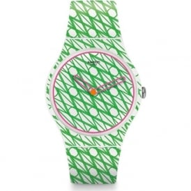 Swatch SUOZ208 DUET IN GREEN & PINK SWISS WATCH