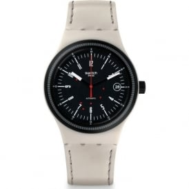 Swatch SUTM400 Sistem 51 Sistem Cream Black & Cream Leather Watch