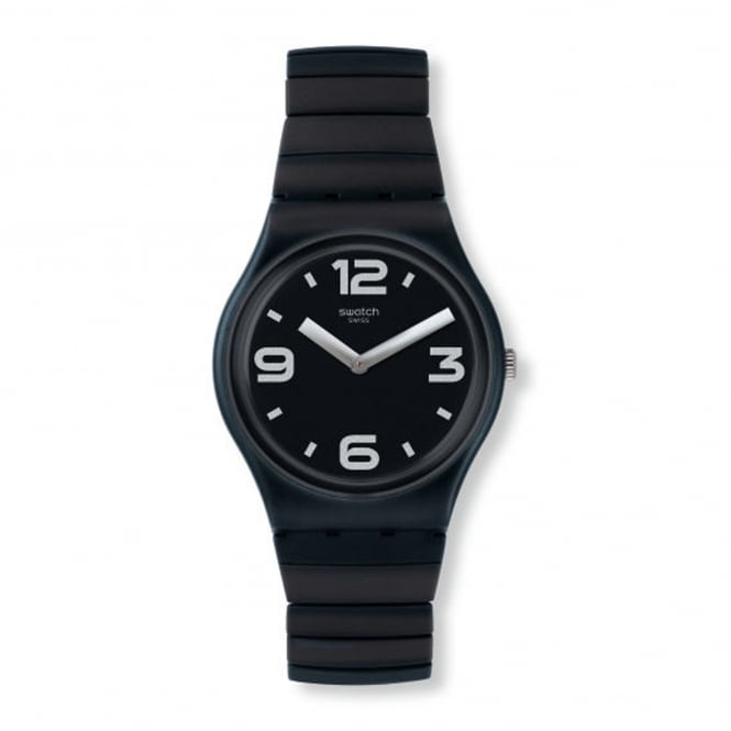 Swatch GB299A Blackhot Black Rubber & Stainless Steel Expander Watch
