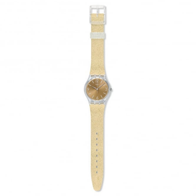 Swatch GE242C Sunblush Glitter Gold Silicone Watch