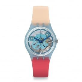 Swatch GL118 Varigotti Blue & Pink Silicone Skeleton Watch