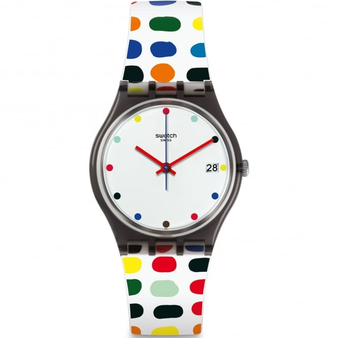 Swatch GM417 Milkolor Black & Multi Coloured Silicone Watch