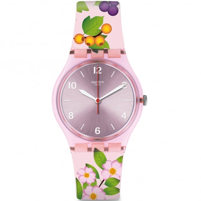 Swatch GP150 Merry Berry Pink Floral Silicone Watch