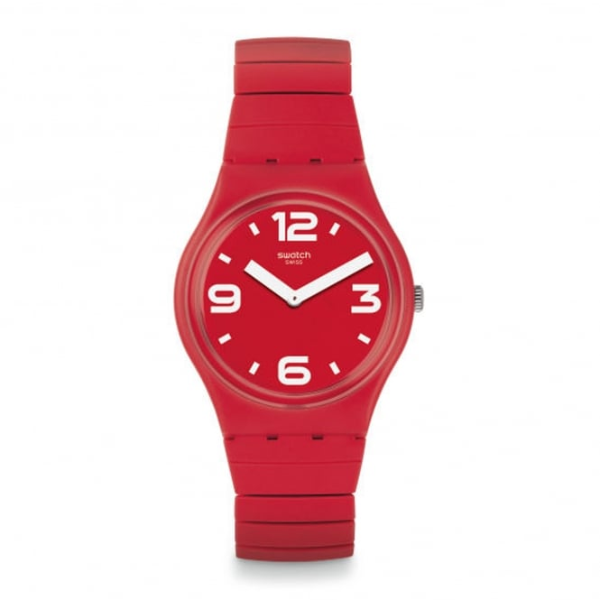Swatch GR173B Chili Red Rubber & Stainless Steel Expander Watch