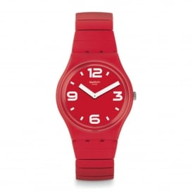 GR173B Chili Red Rubber & Stainless Steel Expander Watch