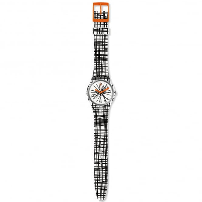 Swatch GW183 Lace Me Black & White Silicone Watch