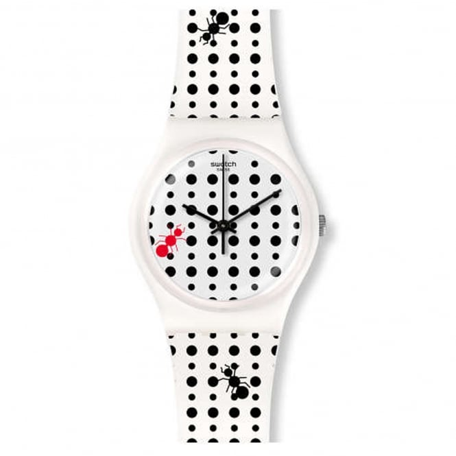 Swatch GW184 Lavorando Black & White Dot Silicone Watch