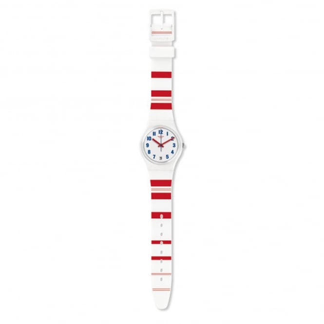 Swatch GW407 Rosalinie White & Red Silicon Watch