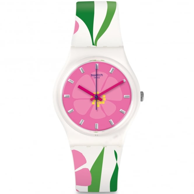 Swatch GZ304 Primevere Pink & White Silicone Watch
