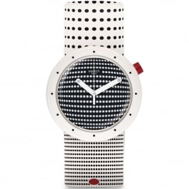 PNW104 Dotypop Black, White & Red Silicone Pop Watch