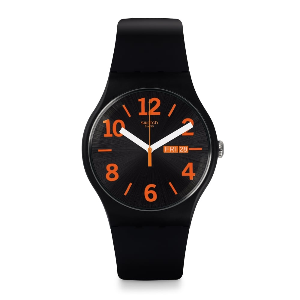 swatch suob723 orangio orange and black silicone
