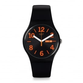 SUOB723 Orangio Orange & Black Silicone Watch