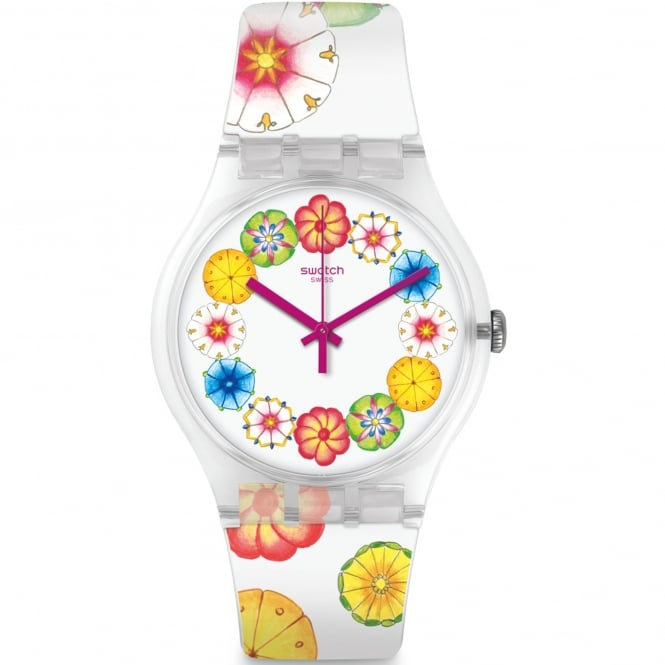 Swatch SUOK127 Kumquat White Floral Silicone Watch