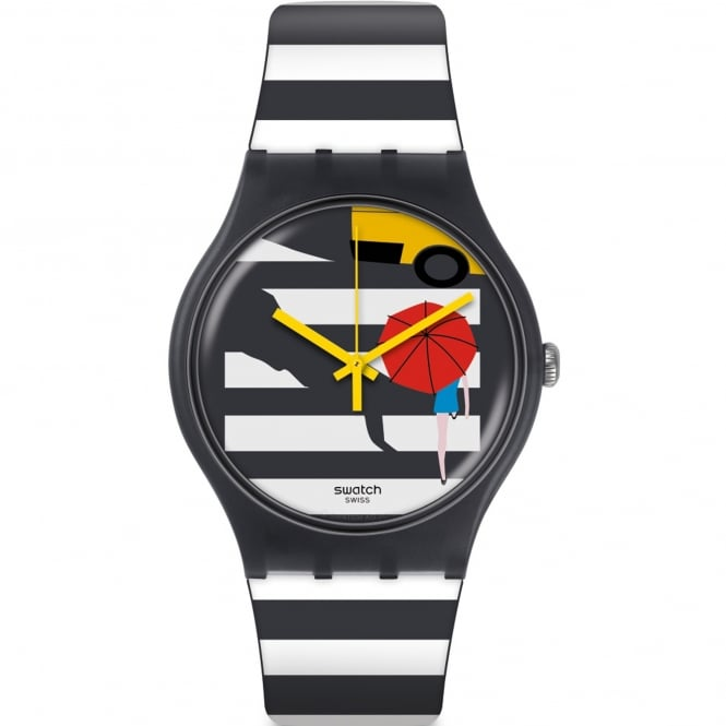 Swatch SUOM108 Cross the Path White & Grey Striped Silicone Watch