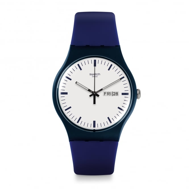 Swatch SUON709 Bellablu White & Blue Silicone Watch
