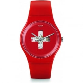 SUOR106 Red Swiss Around the Clock Watch