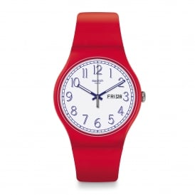 Swatch SUOR707 Red Me UP White & Red Silicone Watch