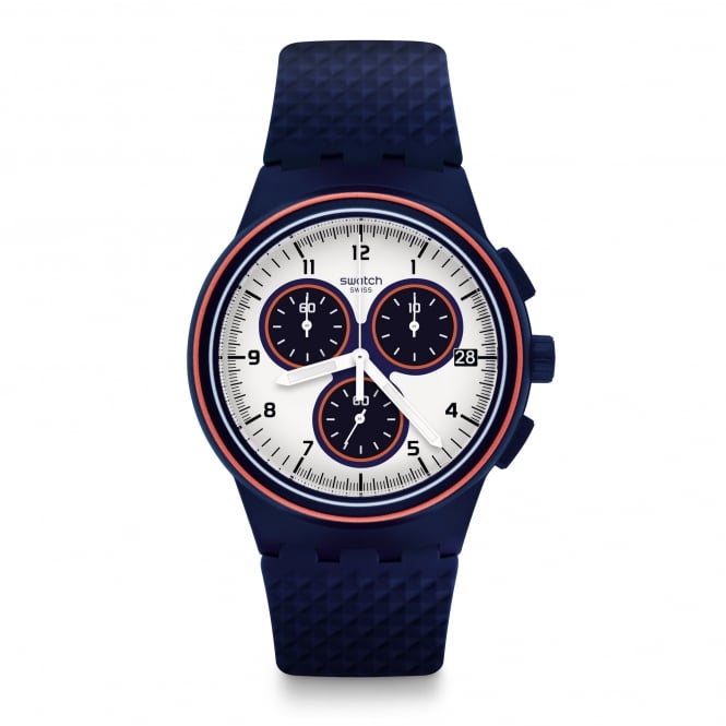Swatch SUSN412 Parabordo White, Orange & Blue Silicone Chrono Watch
