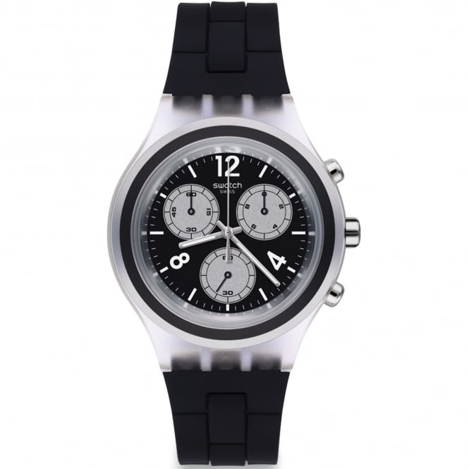 Swatch SVCK1004 Eleblack Silver & Black Silicone Chronograph Watch
