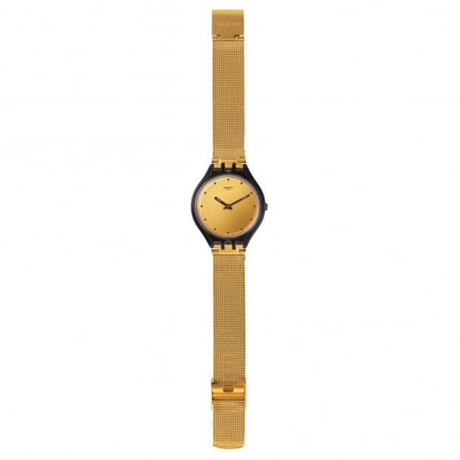 Swatch SVOC100M Skinmoka Black & Gold Mesh Watch