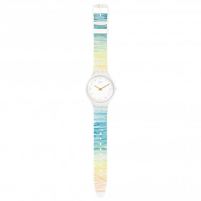 Swatch SVOW103 Skinesquisse Multicolour & White Silicone Watch