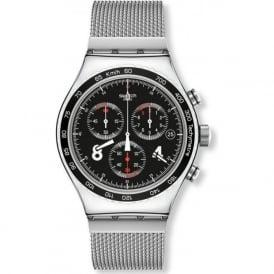 Swatch Blackie YVS401G Metal Mesh Chronograph Watch